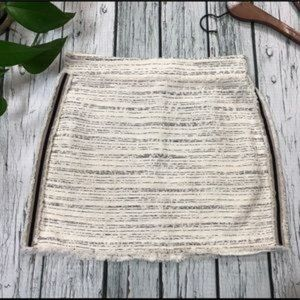 ZARA Basic Ecru Black Tweed Skirt w/Side Stripe M